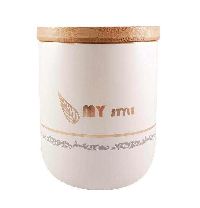 Set 3 Boluri Condimente din Ceramica si capac din Bambus, MY STYLE 1