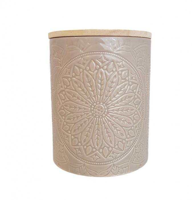 Recipient depozitare, MANDALA, culoare Gri, 800 Gr, Ceramica si capac Lemn 0