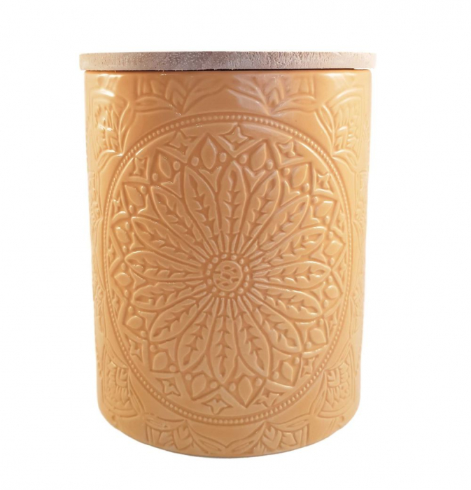 Recipient depozitare, MANDALA, culoare Ocru, 800 Gr, Ceramica si capac Lemn