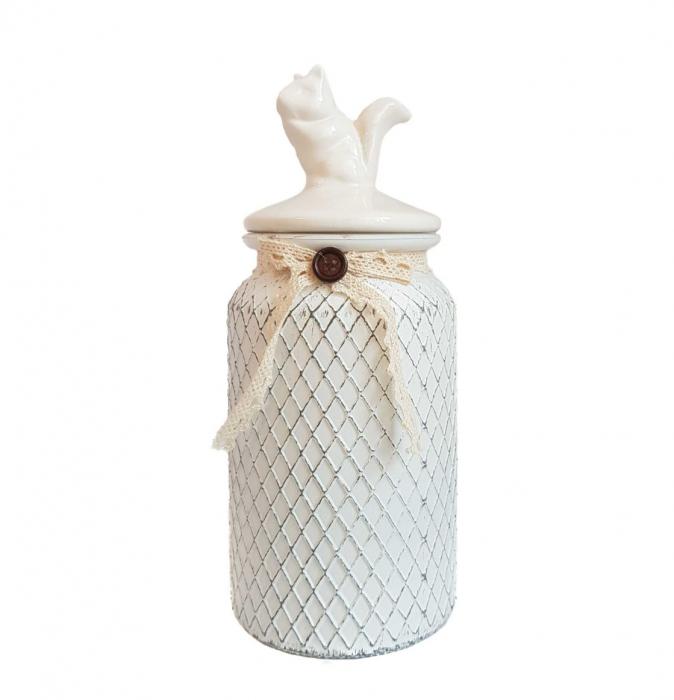 Set 3 recipiente depozitare Vintage, sticla si capac ceramica 1