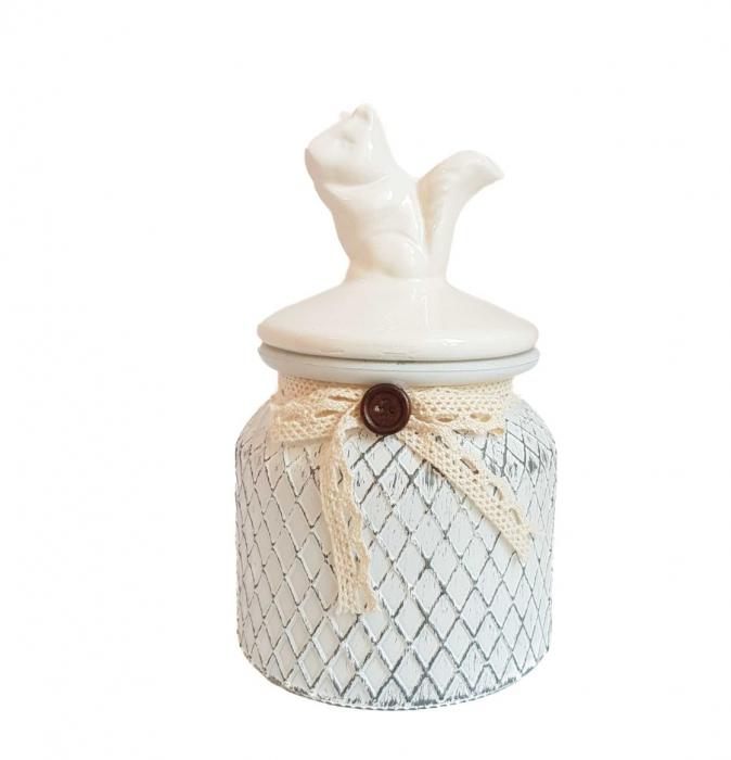 Set 3 recipiente depozitare Vintage, sticla si capac ceramica 3