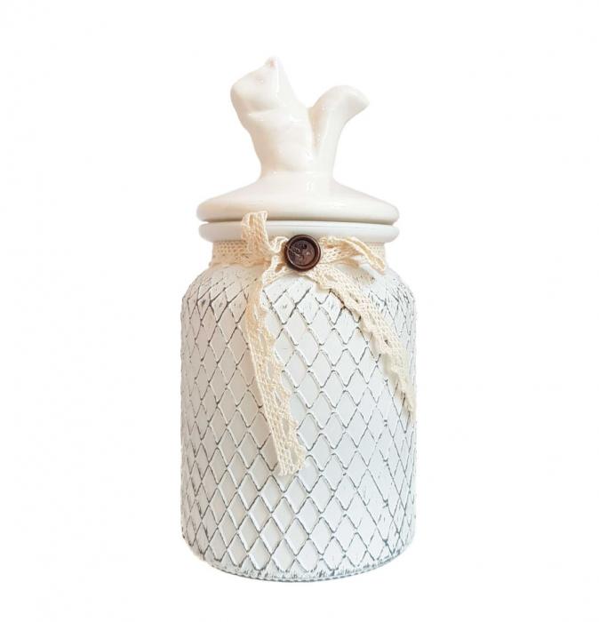 Set 3 recipiente depozitare Vintage, sticla si capac ceramica 2