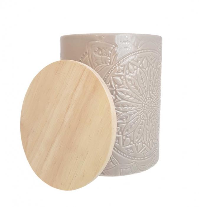 Recipient depozitare, MANDALA, culoare Gri, 800 Gr, Ceramica si capac Lemn 2