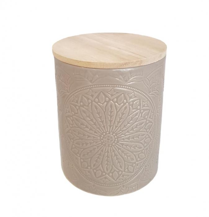 Recipient depozitare, MANDALA, culoare Gri, 800 Gr, Ceramica si capac Lemn 1
