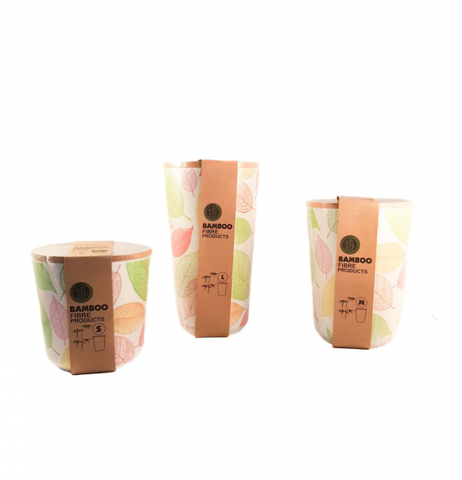 Set 3 recipiente pentru depozitare,Verde,din fibre de Bambus