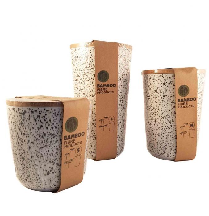 Set 3 recipiente pentru depozitare, din fibre de Bambus 0