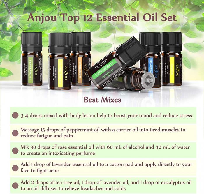 Set 12 uleiuri esentiale, 12x5 ml, puritate 100%, Anjou 2