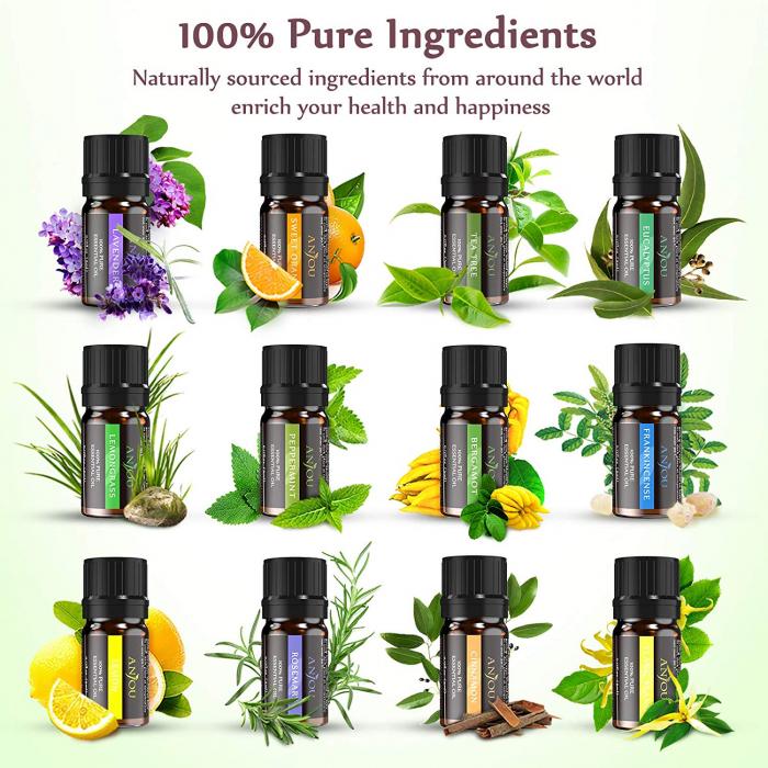 Set 12 uleiuri esentiale, 12x5 ml, puritate 100%, Anjou 1