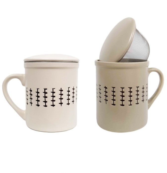 Set 2 Cani pentru Ceai, infuzor metalic si capac, Ceramica, 320 ML x 2 0