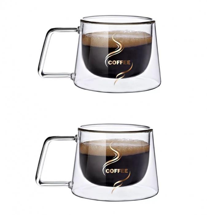 Set 2 Cesti COFFEE din sticla borosilicata cu pereti dubli, 200 ml [7]
