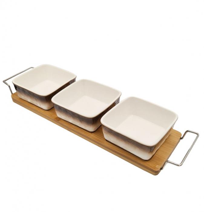 Set 3 recipiente din Ceramica pentru aperitive cu suport din Bambus, Alb si Maro [0]