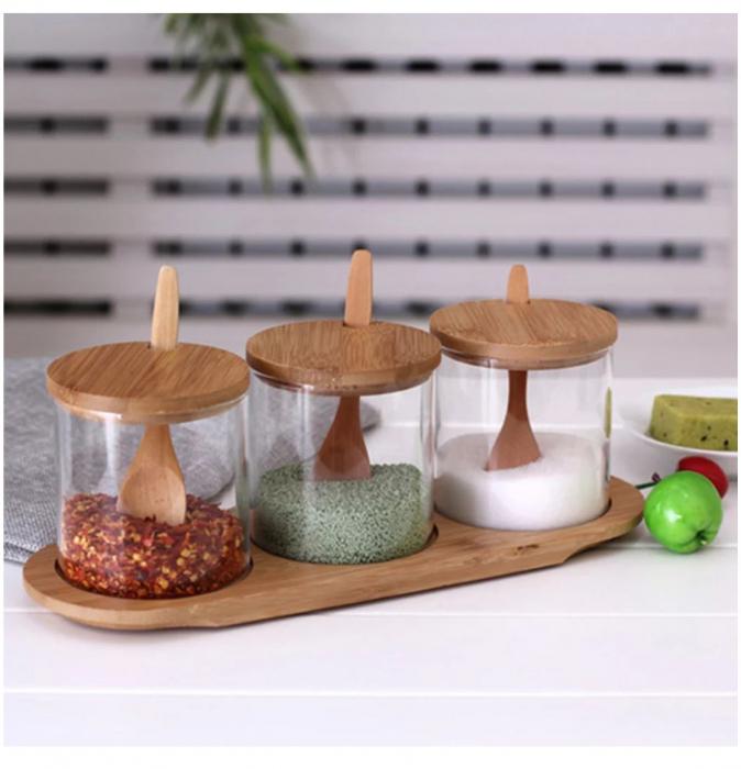 Set pentru condimente, 3 recipiente sticla Borosilicata, cu lingurite, capace si tava din bambus, 30x10x10 cm 0