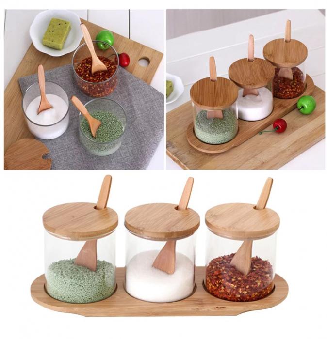 Set pentru condimente, 3 recipiente sticla Borosilicata, cu lingurite, capace si tava din bambus, 30x10x10 cm 1