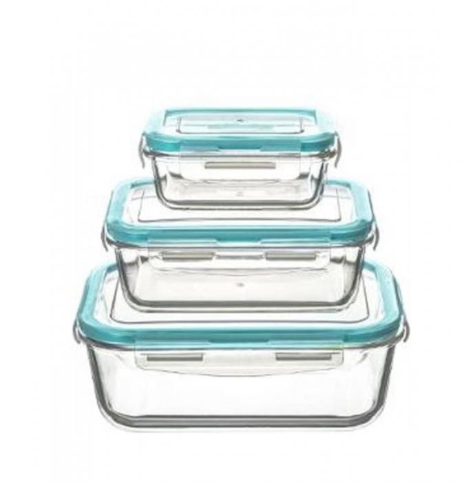 Set 3 cutii alimentare din sticla cu inchidere ermetica 0