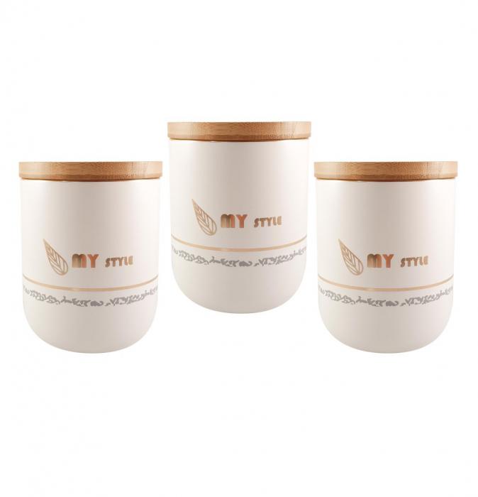 Set 3 Boluri Condimente din Ceramica si capac din Bambus, MY STYLE 0