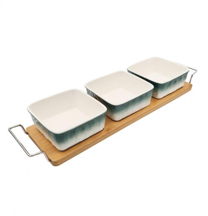 Set 3 recipiente din Ceramica pentru aperitive cu suport din Bambus, Alb si Verde [0]