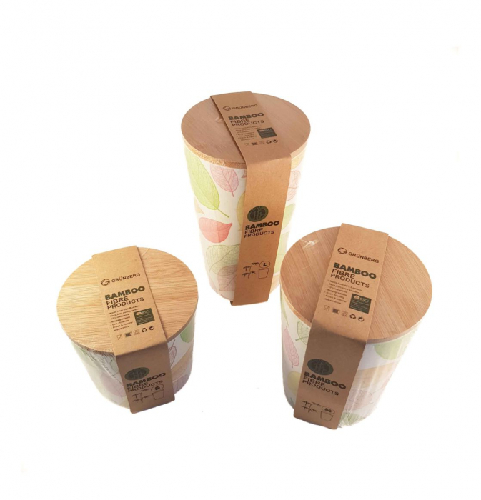 Set 3 recipiente pentru depozitare,Verde,din fibre de Bambus 1