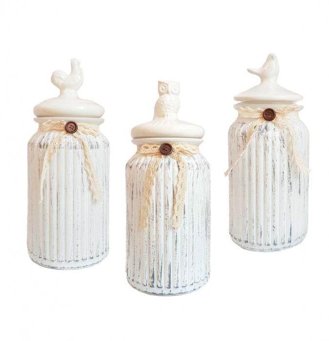 Set 3 recipiente Vintage, din sticla cu capac ceramica 0