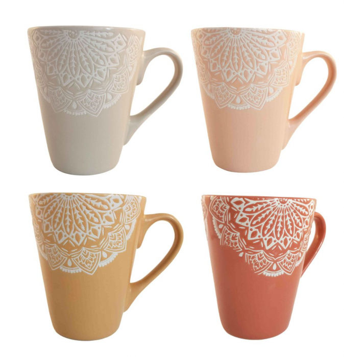 Set 4 Cani MANDALA, 300 ml, Ceramica