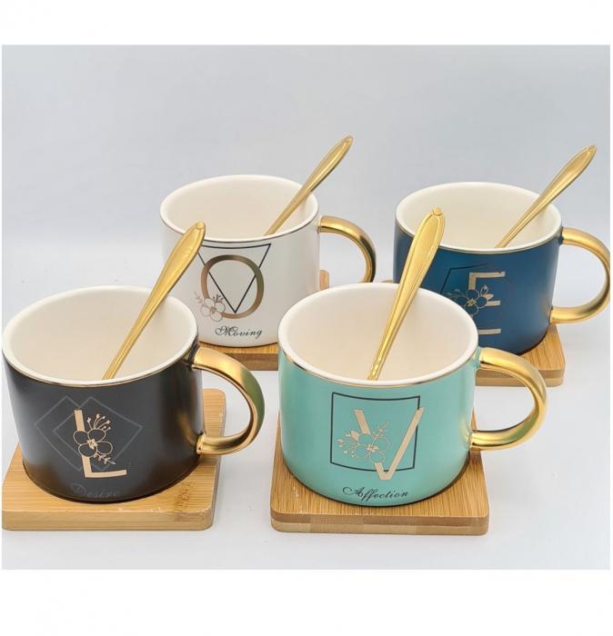 Set 4 Cesti pentru Cafea si Ceai, LOVE, suport bambus si lingurite 2