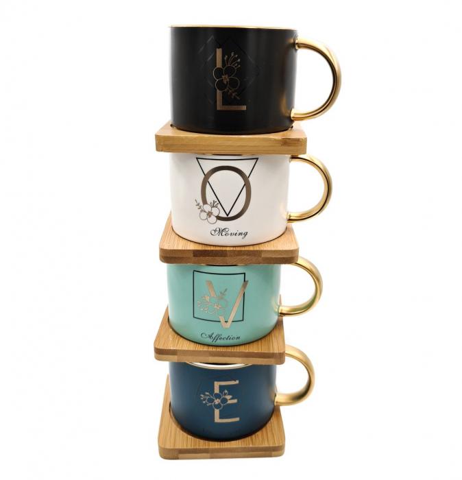 Set 4 Cesti pentru Cafea si Ceai, LOVE, suport bambus si lingurite 1