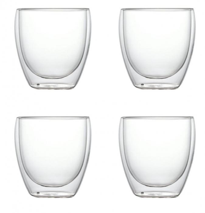Set 4 Pahare din sticla Borosilicata cu pereti dubli, 250 ml x 4 0