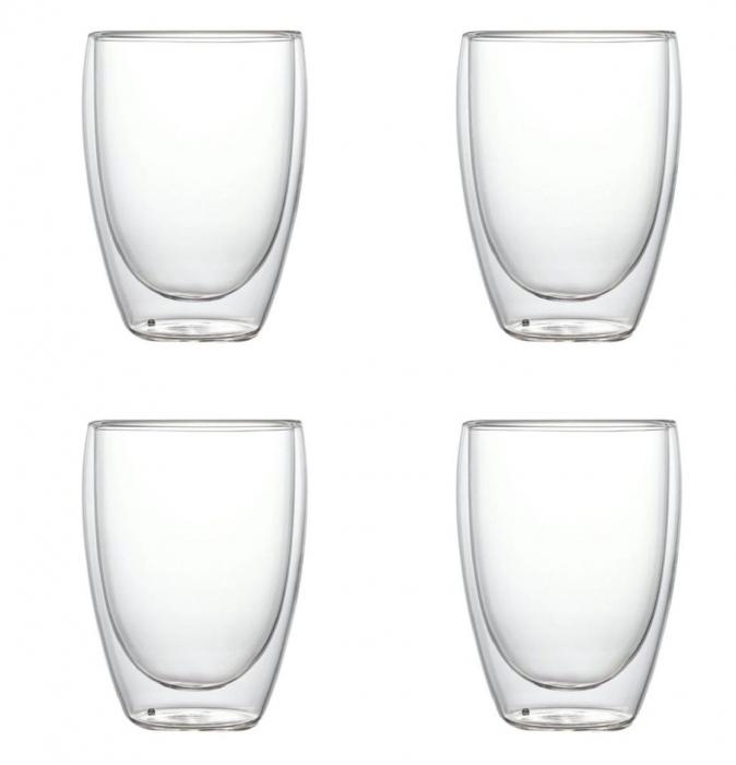 Set 4 Pahare din sticla Borosilicata cu pereti dubli, 350 ml x 4 0