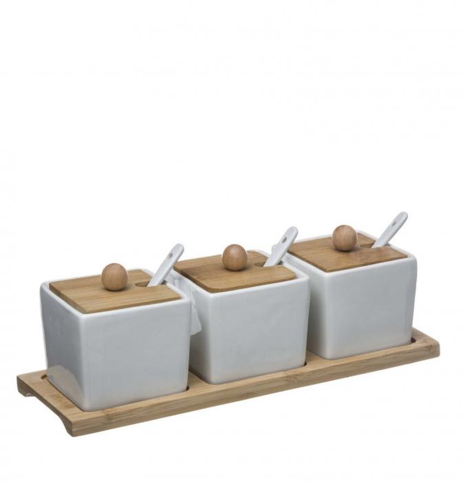Set 3 boluri cu capac pentru aperitive, Portelan si Bambus 0