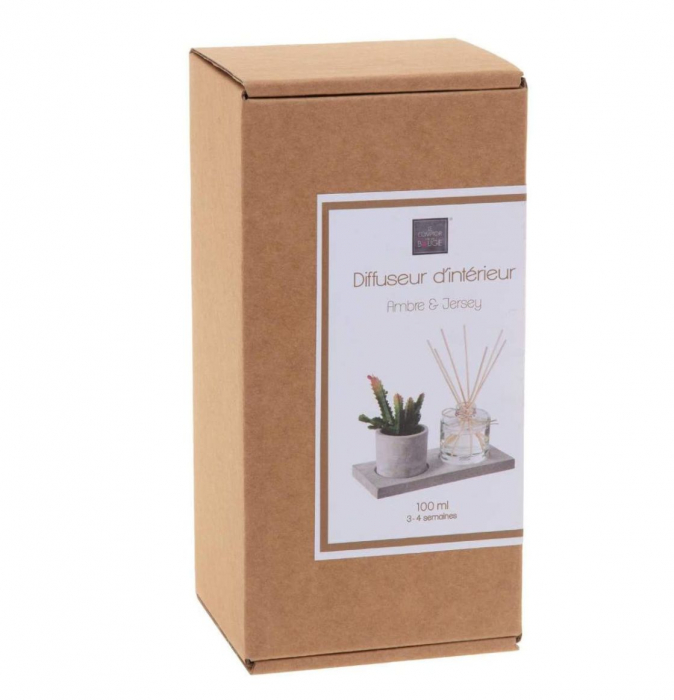 Set cadou Parfum Ambre&Jersey cu betisoare si planta artificiala, suport din Ciment, 22X11X9 1