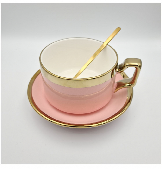 Set cafea Ceasca, farfurie si lingurita, QUALITY, 200 ml 2