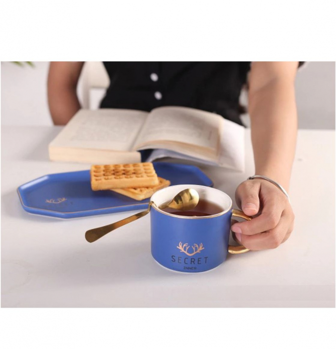 Set Cafea din Portelan, Ceasca, Platou si Lingurita, SECRET [4]