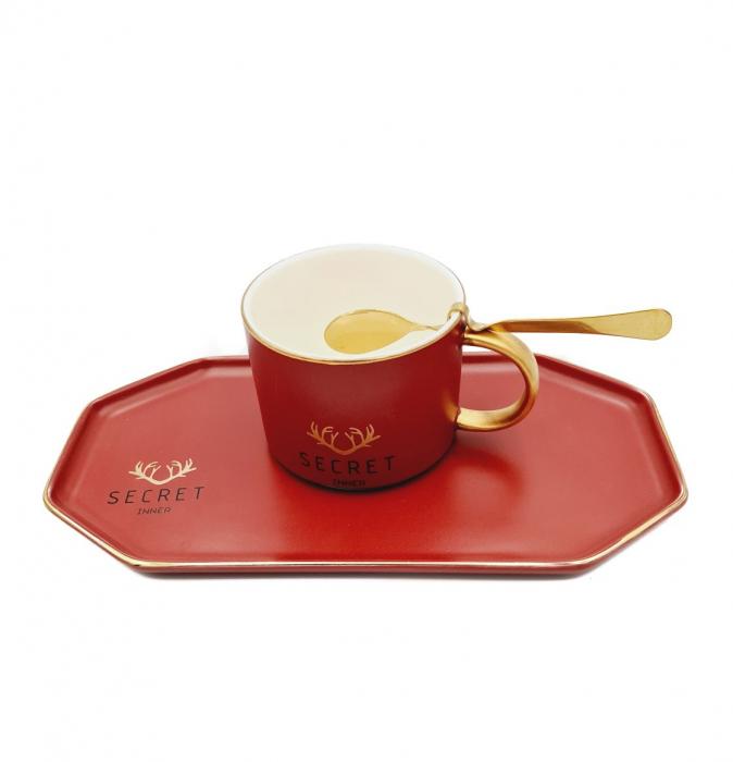 Set Cafea din Portelan, Ceasca, Platou si Lingurita, SECRET [0]
