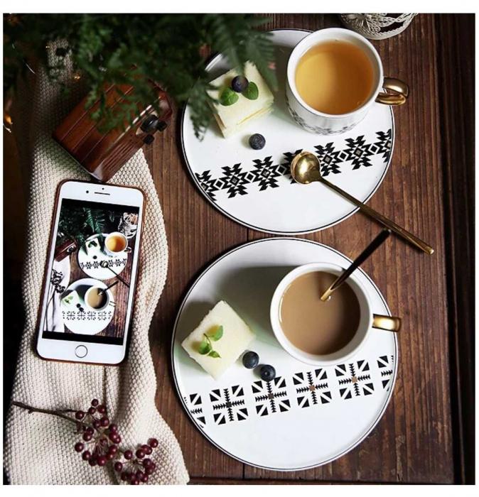 Cana cu Platou si Lingurita, pentru cafea si ceai, 200 ML 3