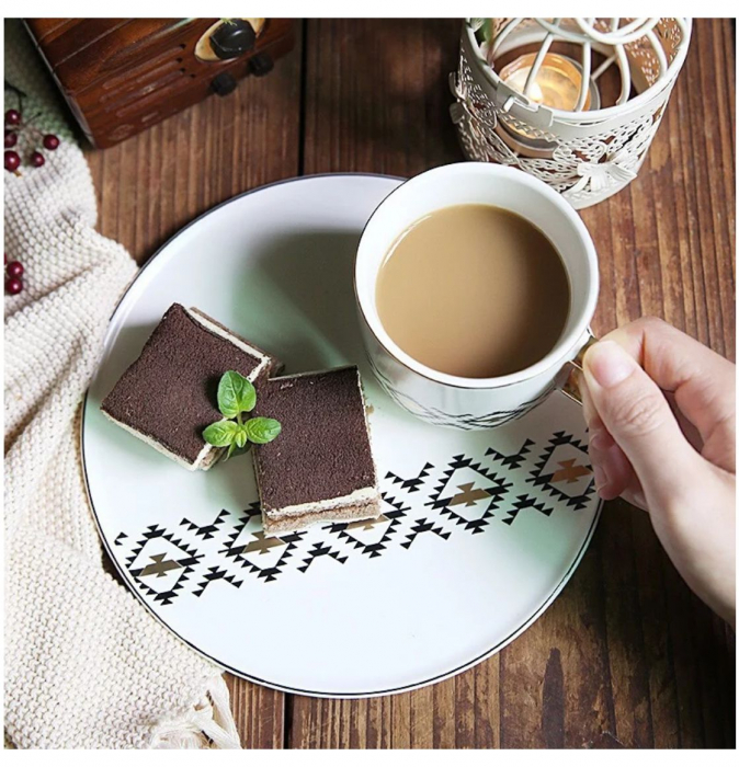 Cana cu Platou si Lingurita, pentru cafea si ceai, 200 ML 4