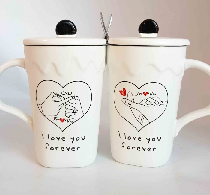 Set 2 Cani cu lingurita si capac, LOVE YOU FOREVER, 300 ml 1