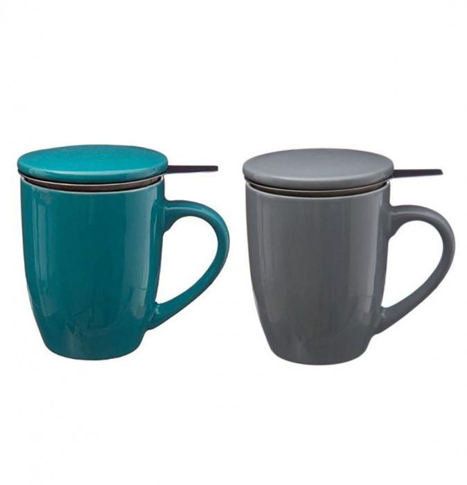 Set 2 Cani cu infuzor pentru Ceai, Bleu si Gri, 320 ml, Portelan 0