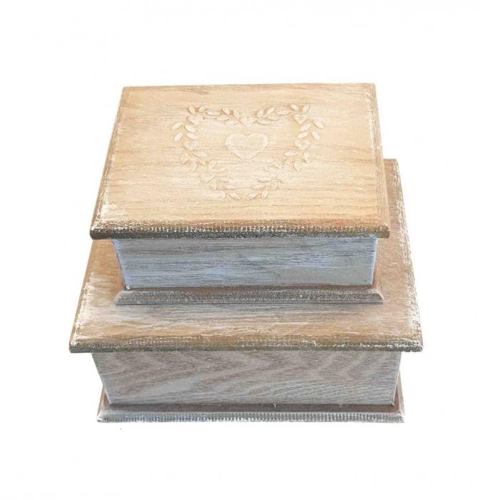Set 2 cutii HEART din Lemn, pentru Bijuterii [0]