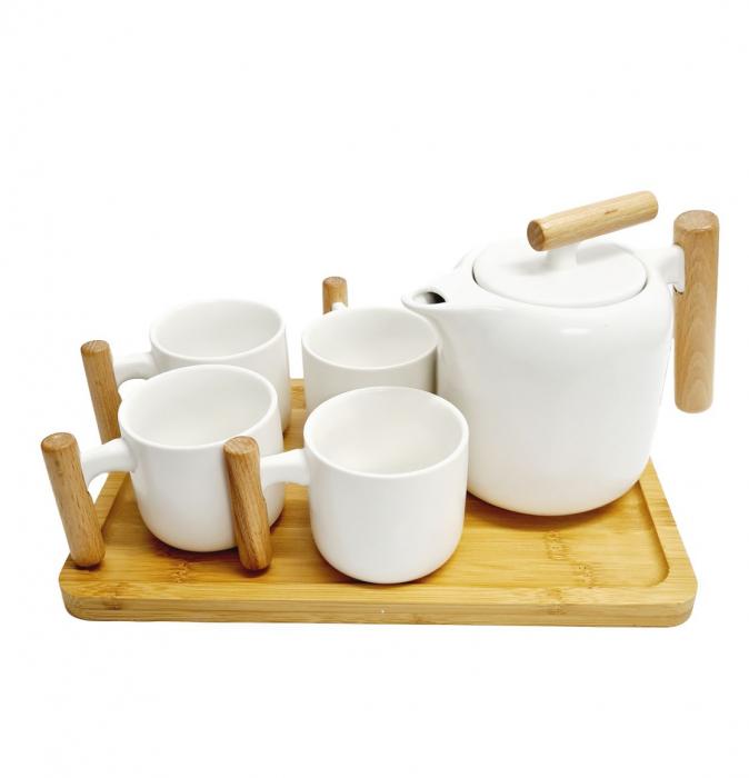Set Portelan si Bambus, Ceainic cu infuzor, Tava si 4 Cani, STYLE, Alb 0
