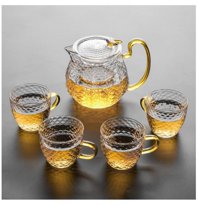 Set Ceai din Sticla Borosilicata, Ceainic cu infuzor si 4 Cani 0