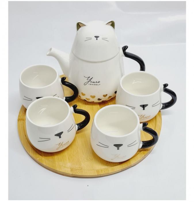 Set Ceainic Portelan, 4 Cani si Tava din Bambus, CAT [2]