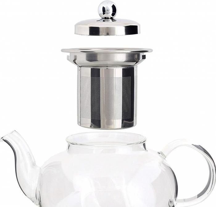 Set Ceainic si Ceasca din sticla termorezistenta, cu infuzor din Inox 2