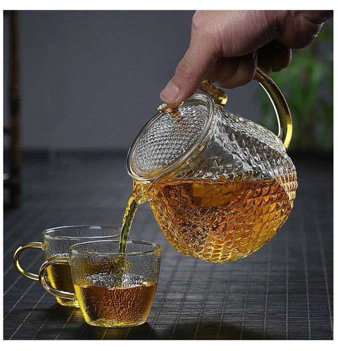 Set Ceai din Sticla Borosilicata, Ceainic cu infuzor si 4 Cani 2