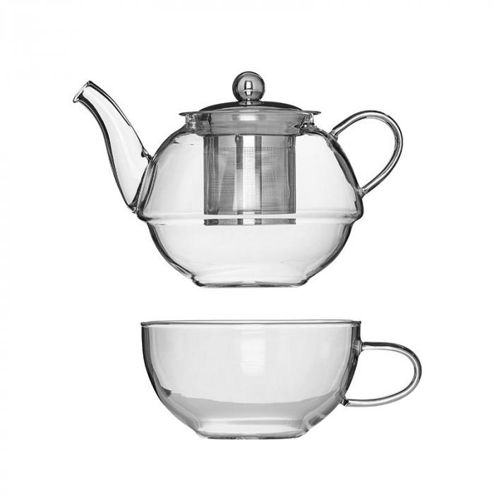 Set Ceainic si Ceasca din sticla termorezistenta, cu infuzor din Inox 0