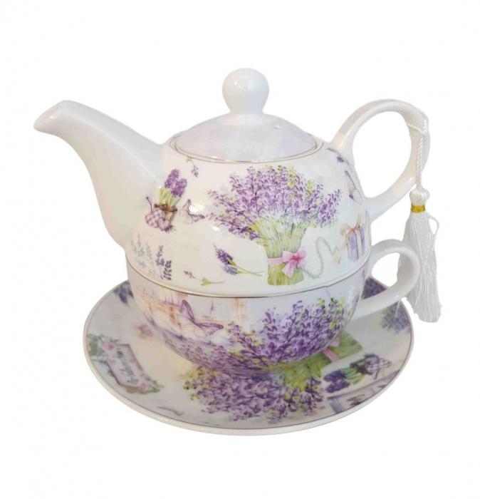 Set Ceai pentru 1 persoana, 3 piese, Lavander 0
