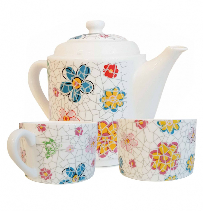 Set TEA FOR TWO Ceainic cu infuzor si 2 cesti, Flowers 0
