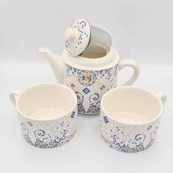 Set TEA FOR TWO Ceainic cu infuzor si 2 cesti, GAUDI 1