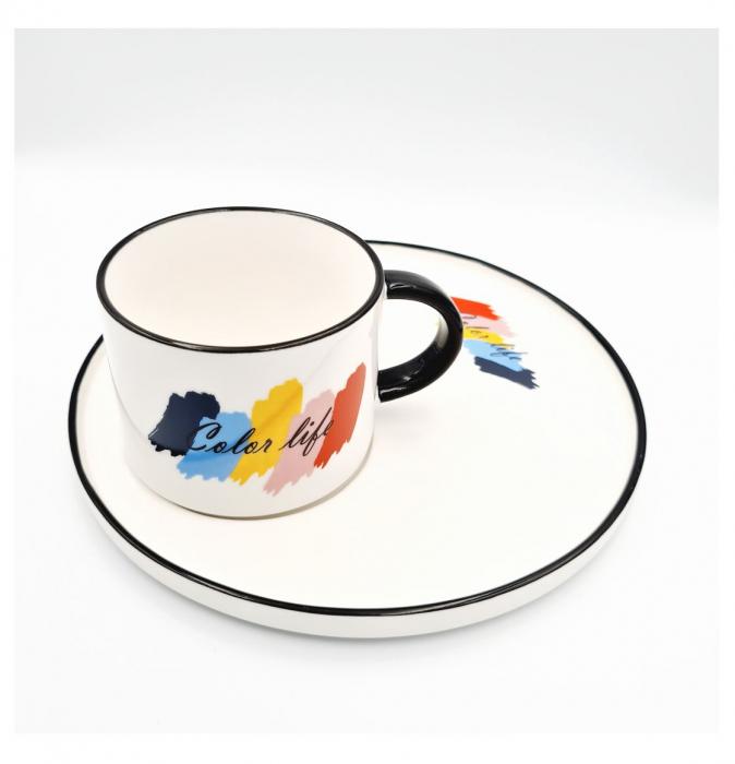 Set pentru Cafea si Ceai, Cana cu Platou, COLOR LIFE 1