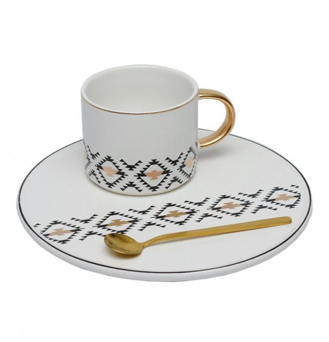 Cana cu Platou si Lingurita, pentru cafea si ceai, 200 ML 0
