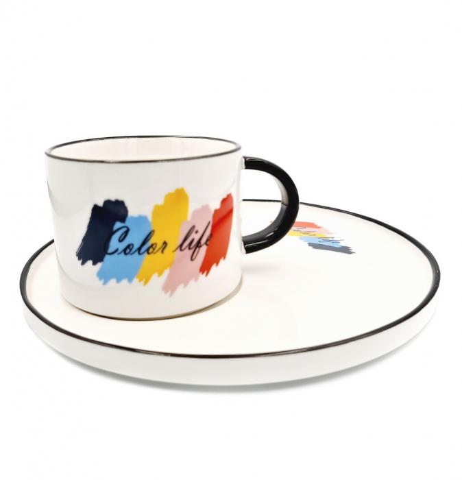 Set pentru Cafea si Ceai, Cana cu Platou, COLOR LIFE 0