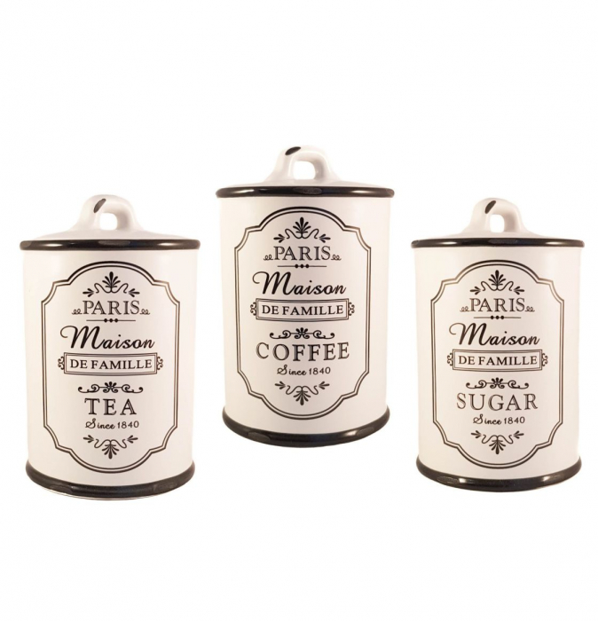 Set Ceramic PARIS, 3 recipiente pentru depozitare, Alb 0